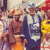 From the right: Madam Kofo, Prof Akinwunmi Ishola (who wrote most of Tunde Kelani's movies), Ayo Mogaji and a well-known broadcaster from the Ile Akede Orita Basorun, Ibadan (can't place her name).