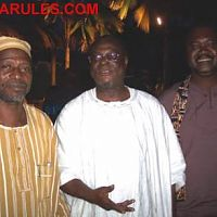 Odia Ofeimun, Professor Femi Osofisan and the late Funsho Alabi (right) at a special reading held in honor of Chimamanda Ngozi Adichie in 2004 at La Campagne Tropicana.