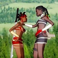 """Etido and Azuka after a little """"show down'' with the Black Panthers. . ."""